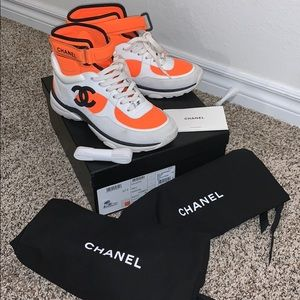 Chanel Orange White CC Logo High Top Sneakers